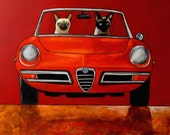 152 Alfa Giulia Spider Duetto and Siamese cats - folded art card 15x15cm/6x6inch with envelope