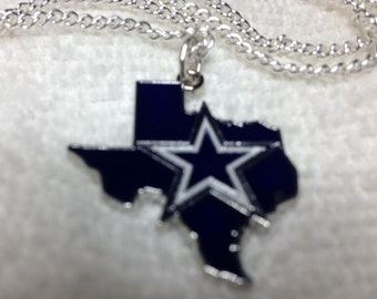 Dallas Cowboys New Charm Pendant Star in State of Texas on Stainless Chain Guys or Gals