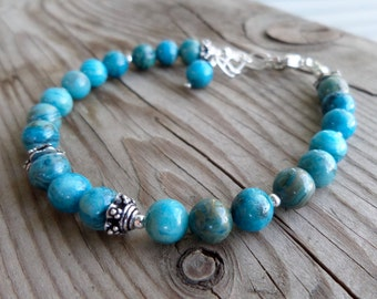 Natural Crazy Lace Blue Agate with Sterling Silver Gemstone Bracelet