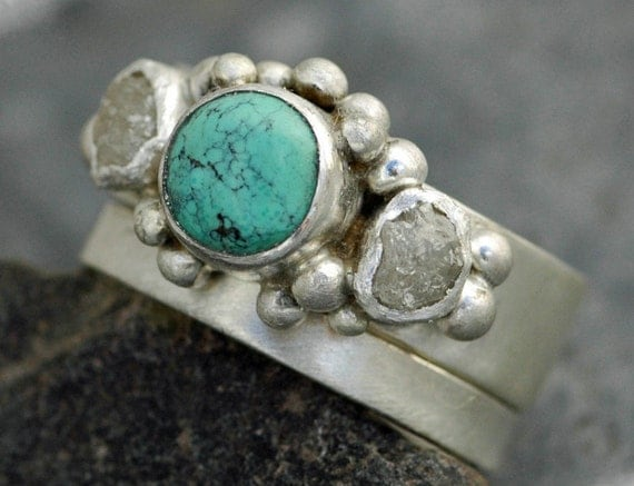 Rough Diamond and Turquoise Band and Wedding Stacking  Ring Set- Custom Made Custom Colour