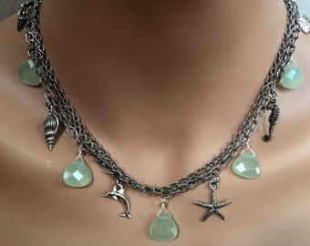Sea Charm Necklace with Pale Green Faceted Stones