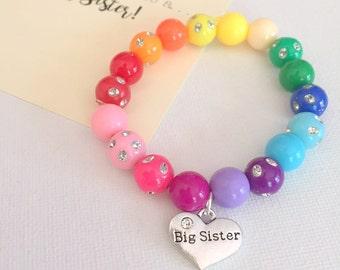 Big Sister bracelet, big sister jewelry, big sister jewellery, rainbow bracelet, rainbow jewelry, Comes with Fun card.