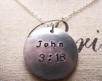 John 3:16 Necklace. Bible Verse Necklace