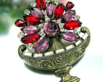 Vintage RHINESTONE FLOWER BOUQUET Pin Purple Red Arrangement Basket Brooch