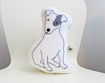 jack russell shaped pillow, dog cushion, plush jack russell dog, animal pillow