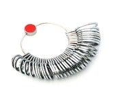 36 Piece Ring Chrome Plated Metal Finger Sizers With Half Sizes (1-15)  SALE