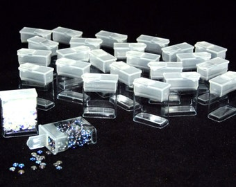 Pack of 25 Rectangle Clear Plastic Storage Tubes With Flip Tops 1.25""