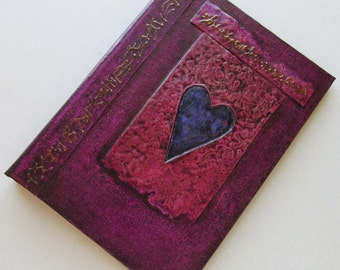 Refillable Journal Handmade Plum Cast Heart 7x5 Original