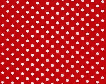 Michael Miller Fabric Dumb Dot Polka Dots Red, Choose your cut