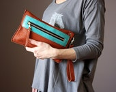 Rust brown leather clutch, perforated leather clutch, wristlet, leather purse, Iphone5 Iphone6  case, wallet , coin purse