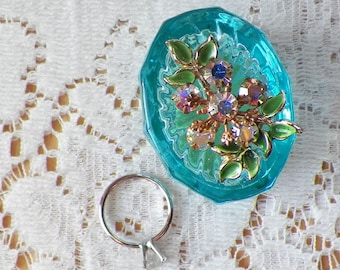 Vintage Jewelry Embellished Vintage Aqua Glass Salt Cellar Ring Holder, Presentation Box / Holder, Engagement Ring Box / Holder, Rhinestones