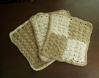 Handcrocheted Cotton Dishcloths - Set of 3 Tan and Off White