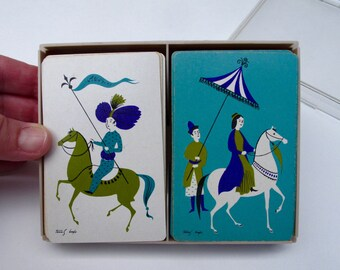 1950s Tammis Keefe Playing Cards Aqua Purple Olive White, Mid Century Asiana Horses Vintage two Complete Decks Cards, Stancraft USA