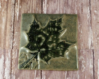 Maple Leaf Decorative Tile Ceramic - Tile Trivet - Accent Tile - 549
