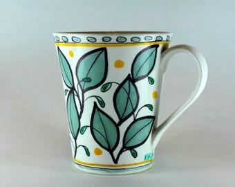 Hand Painted Ceramic Mug, Coffee Mug, Leaf Design SKU 1510-9