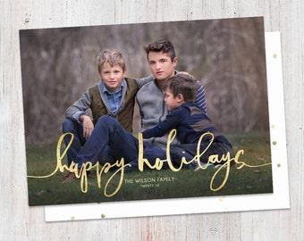 Happy Holidays Brush Stroke Faux Gold Foil Custom Photo Christmas Card Printable, Modern, Script, Simple