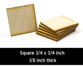 Unfinished Wood Square - 3/4 inches by 3/4 inches and 1/8 inch thick (SQSQ02)