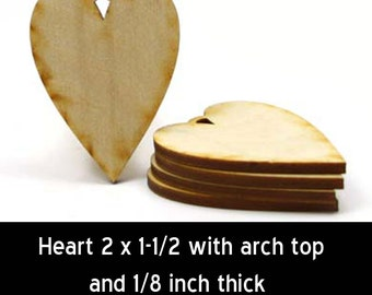 Heart - 2 inches by 1-1/2 inches and 1/8 inch thick with arch loop unfinished wood (HART03)