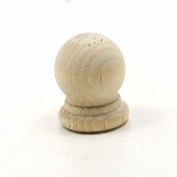 Unfinished wood finial dowel cap end by