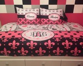 I Love Paris Fleurs Designer Tw -Qu or King Bedding and shams- Personalized - shown Twin Daybed- color accents can be changed