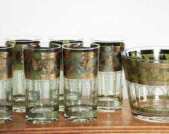 Vintage Green & Gold Grapewine Barware Set, Roman/Greek Arches Barware, Gold trimmed highballs and ice bowl set, vintage green bar set