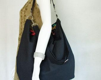 Black Canvas Handbag, large black canvas slouchy hobo crossbody bag, black canvas and floral print cotton shoulder bag with detachable strap