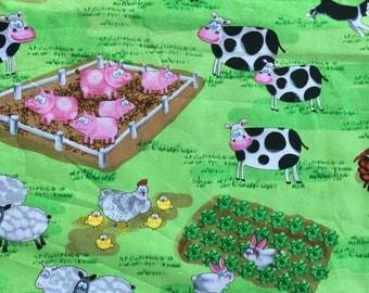 Farm animal fabric, cows, pigs, chickens, border collie, bunnies, farm yard critters, material
