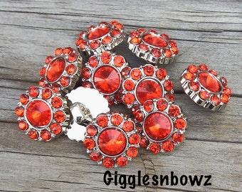 Christmas Rhinestone Buttons- Red 15mm Rhinestone Buttons-  U Choose Quantity- Headband Supplies- Diy Wedding- Brooch Bouquet- Sewing Button