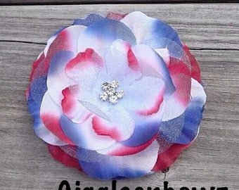 "3.25"" Chiffon Rhinestone and Tulle Flower- Fabric Flower- 4th of July Flower- Red White Blue Flower- DIY Flowers- Rhinestone Flower Head"