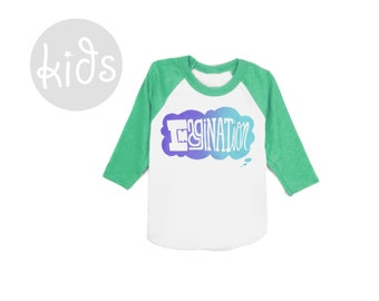Imagination Raglan Tee - 3/4 Sleeve Crew Neck Baseball Tshirt in Heather Green Blue and Purple Ombre - Baby Kids & Youth Sizes