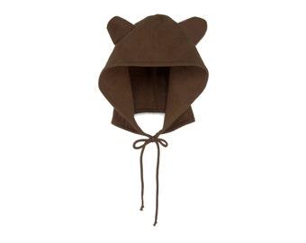 Bear Hoodie Hat - Fleece Tie Hooded Hat with Ears in Chocolate Brown - Unisex Adult & Kids Sizes
