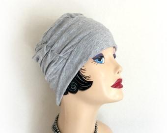 Slouchy Hat - Soft Beanie Hats -Soft Cotton Head Covering - Hats for Hair Loss - Alopecia Hats - Gray Jersey Hats - Handmade Hats USA