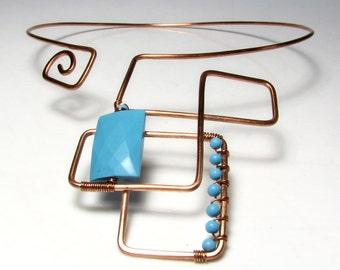Big copper choker necklace Boho Turquoise necklace Womens gift For her Boho choker Big necklace Handmade jewelry