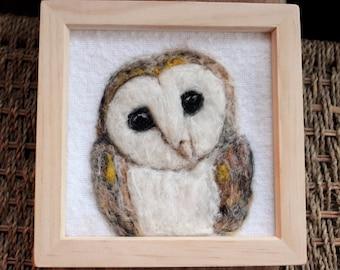 Needle Felted Barn Owl Portrait