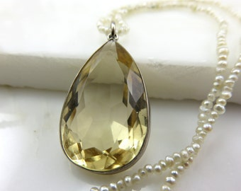 Edwardian Seed Pearl Necklace with Citrine pendant