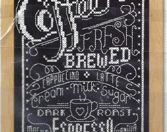 "Janlynn Needlecraft Cross Stitch Kit, Coffee Chalkboard, 5""x7"", Coffee Fresh Brewed, Cappucino, Latte, Mocha, Espresso, Vanilla, Dark Roast"