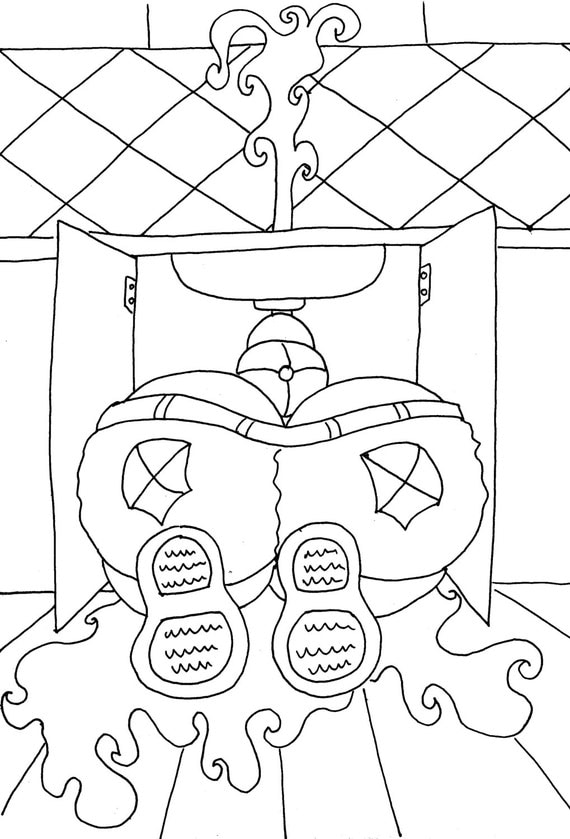 Butt coloring pages ~ Plumber Butt Funny Adult Coloring Page from Chubby Art