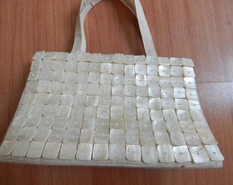 Bridal purse, Mother of Pearl Purse, Island wedding ,bridal, silk linen, sale