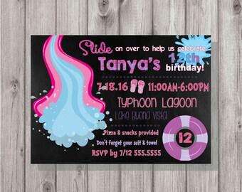 DIGITAL Chalkboard Summer Water Park Pool Party Birthday Girl Pink and Purple Invitation Printable