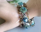 Vintage enamel Flower Bracelet Aqua Green Pearl hearts rhinestones