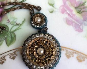 Antique brass Lariat drop pendant Green Patina Pearl rhinestone Aged Oxidized