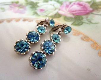 Vintage Signed Weiss Earrings Blue Ice Rhinestone Dangle NWT/Card Albert Weiss