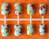 Autumn Leaves Fake Nails, Fall Press On Nails, Fall Leaves Press On Nails, False Nails, Nails, Fall Nail Art, Autumn, Acrylic Nail
