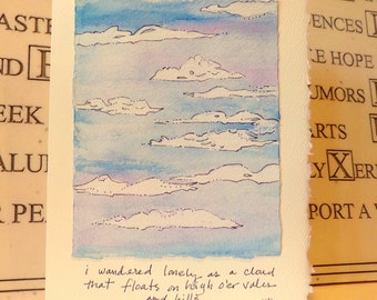 """Wordsworth Quote """"lonely as a cloud..."""" """"Big Card"""" 5x7  With Matching Envelope Blank On The InsideWatercolor Original betrueoriginals"""