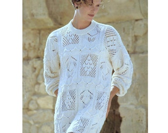 INSTANT DOWNLOAD PDF  Vintage Knitting Pattern Summer Cotton Sampler Sweater  Tunic Jumper Pullover