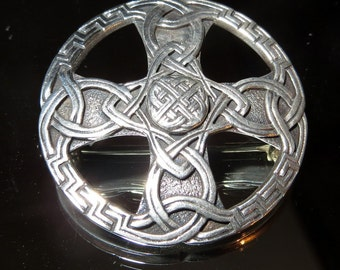 Scotland Celtic Round Sterling Brooch Pin