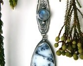 RESERVED - Let it Snow - Dendritic Agate and Moonstone Sterling Silver Necklace