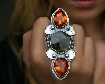 RESERVED - The Fires of Magic - Baltic Amber and Tourmaline Sterling Silver Ring