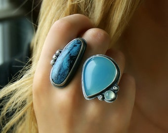 RESERVED - Soul of the Sky - Turquoise and Chalcedony Sterling Silver Ring