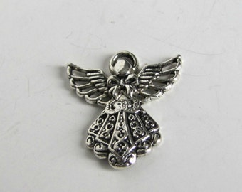 Angel Charms,  Design one side, 10 pieces,   Necklace charms,Bracelet charms,  Book Marker charms, Earrings, Tibetan silver